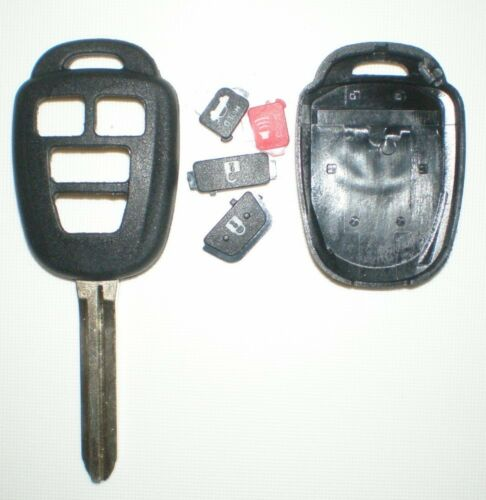 4 BUTTON REPLACEMENT REMOTE SHELL CASE /& UNCUT KEY BLANK HYQ12BDM