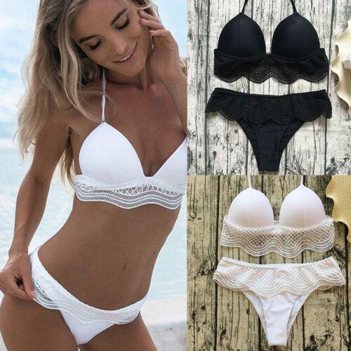 Damen Hohe Taille Bikini Set Spitze Pushup Tankini Beachwear Bademode Sommer