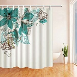 Grüne Blumen Badezimmer Duschvorhang Wasserdichtes Gewebe Duschrollo ...