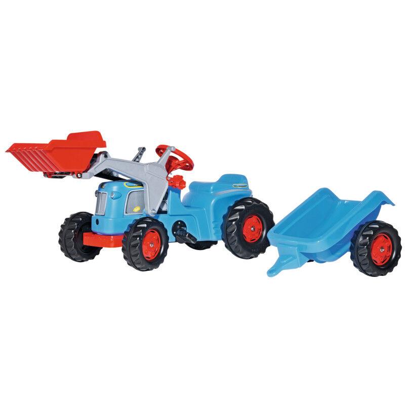630042 Rolly Toys Classic Trac blau mit Kid Trailer und Kid Lader