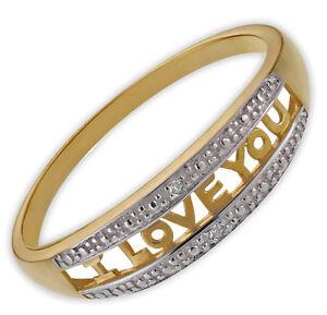 Diamond 9ct Gold I Love You Message Ring Anniversary Valentine