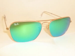 68abae9a250099 New RAY BAN Caravan Sunglasses Matte Gold Frame RB 3136 112 19 Green ...
