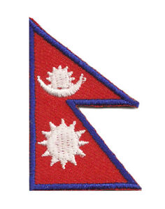 Patch-brode-petit-ecusson-patche-thermocollant-Nepal-45x30-mm