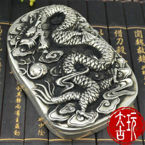 5-2-034-Old-Chinese-Collect-Tibet-Silver-Cupronickel-Dragon-Statue-Inkstone-Yantai