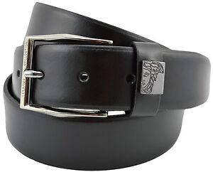 290-Versace-en-cuir-noir-argent-Medusa-Logo-Homme-Ceinture