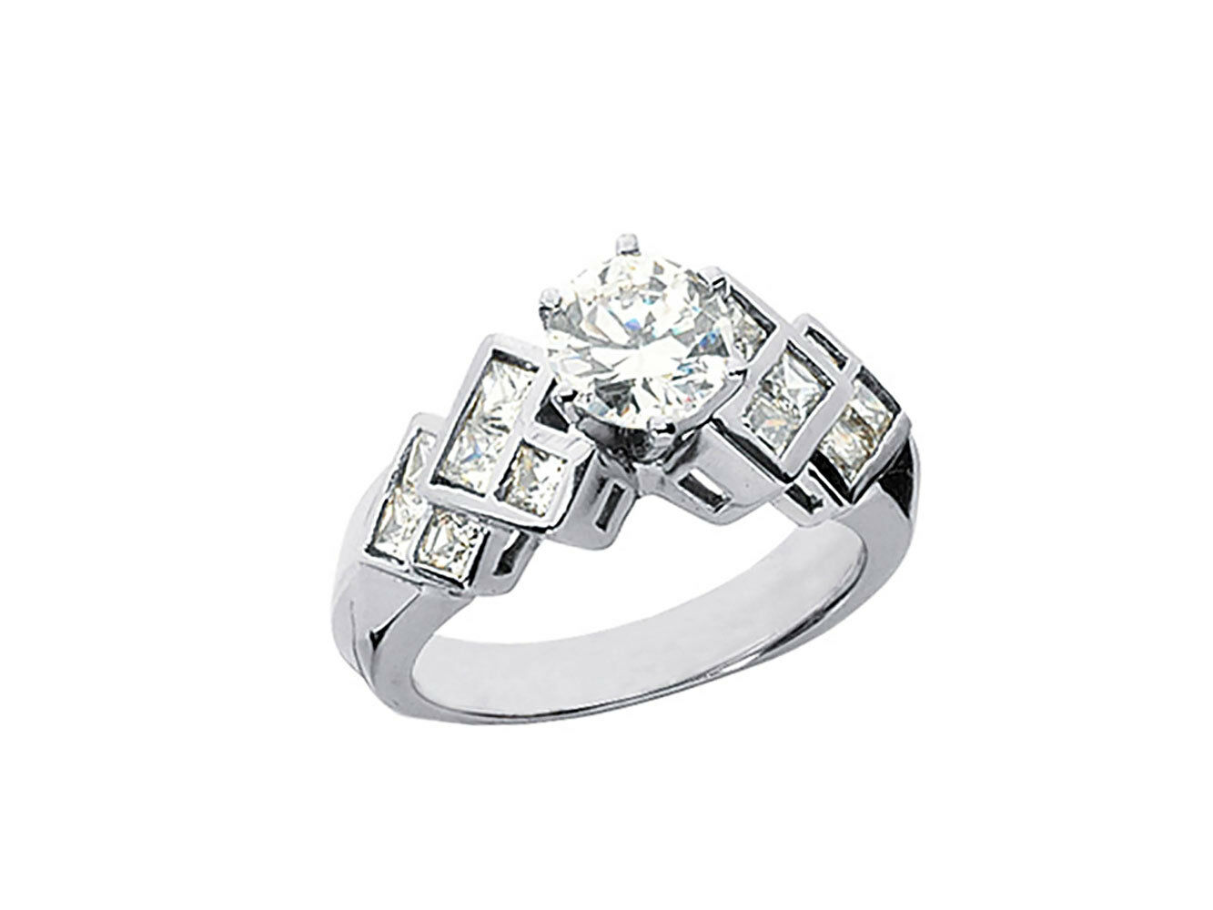 1.25Ct Round Princess Cut Diamond Engagement Ring Layered Accents 10k gold GH I1