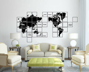 Huge World Map Wall Sticker Home Decor Decal Uk Sh263 Ebay
