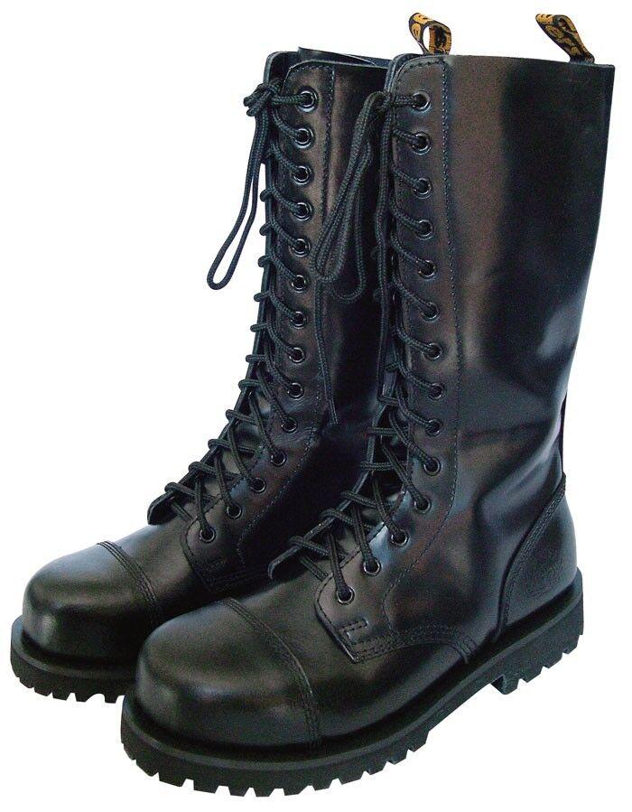 KB Gothic Stiefel 14-Loch Schwarz 37-47 Stiefel Gothicschuhe Stahlkappen