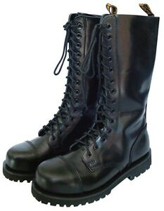 KB Gothic Boots Stiefel Schuhe Gothicschuhe Stahlkappen 10-Loch Schwarz