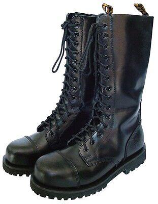 Kb Gothic Boots 14 Fori Nero 37-47 Stivali Gothicschuhe Tappi Acciaio-mostra Il Titolo Originale