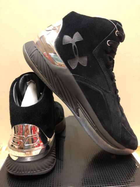 low priced 1eef5 8edbf Under Armour 1296617-001 UA Curry 1 Lux Mid Suede Shoes in Black