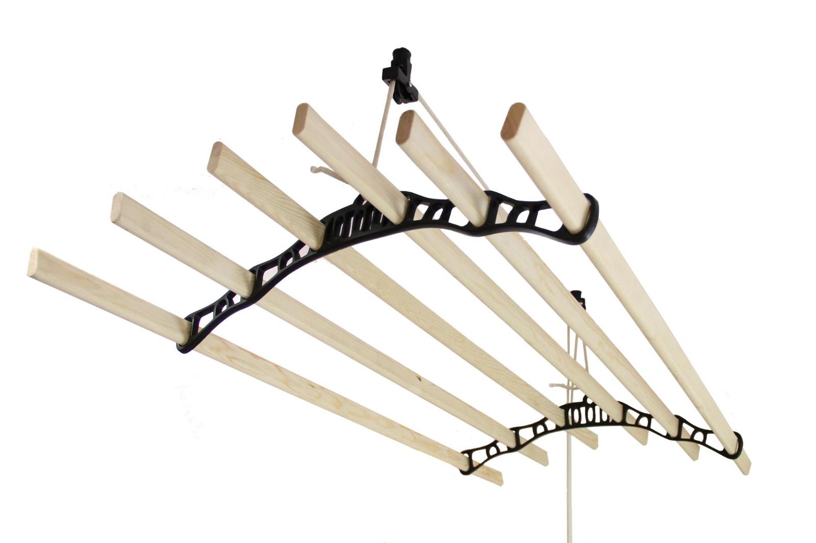 Tendedero de Techo con Sistema de Polea y 6 Listones de 1,2m en noir