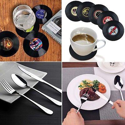 New Luxury Stainless Steel Knife Fork Spoon Dinnerware Tableware +Black Coasters