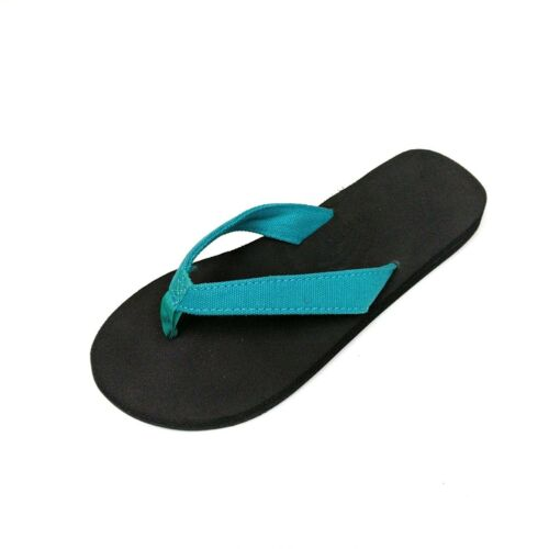 NEW WOMEN RAINBOW 301ASTCS THE BELLA RUBBER SANDAL TEAL BLUE CANVAS STRAP