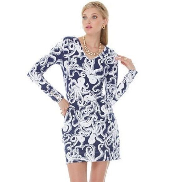 NEW Lilly Pulitzer Daylin Terry Dress Bright Navy Bubbly bluee bluee bluee White Octopus XS f120ba
