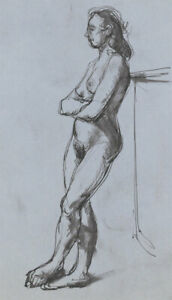 Peter Collins ARCA - c.1970s Pen and Ink Drawing, Full Length Nude Study