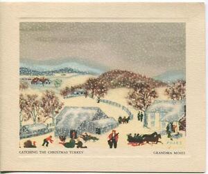 VINTAGE CHRISTMAS SNOW WINTER TURKEY FOLK ART GRANDMA MOSES GREETING ART CARD