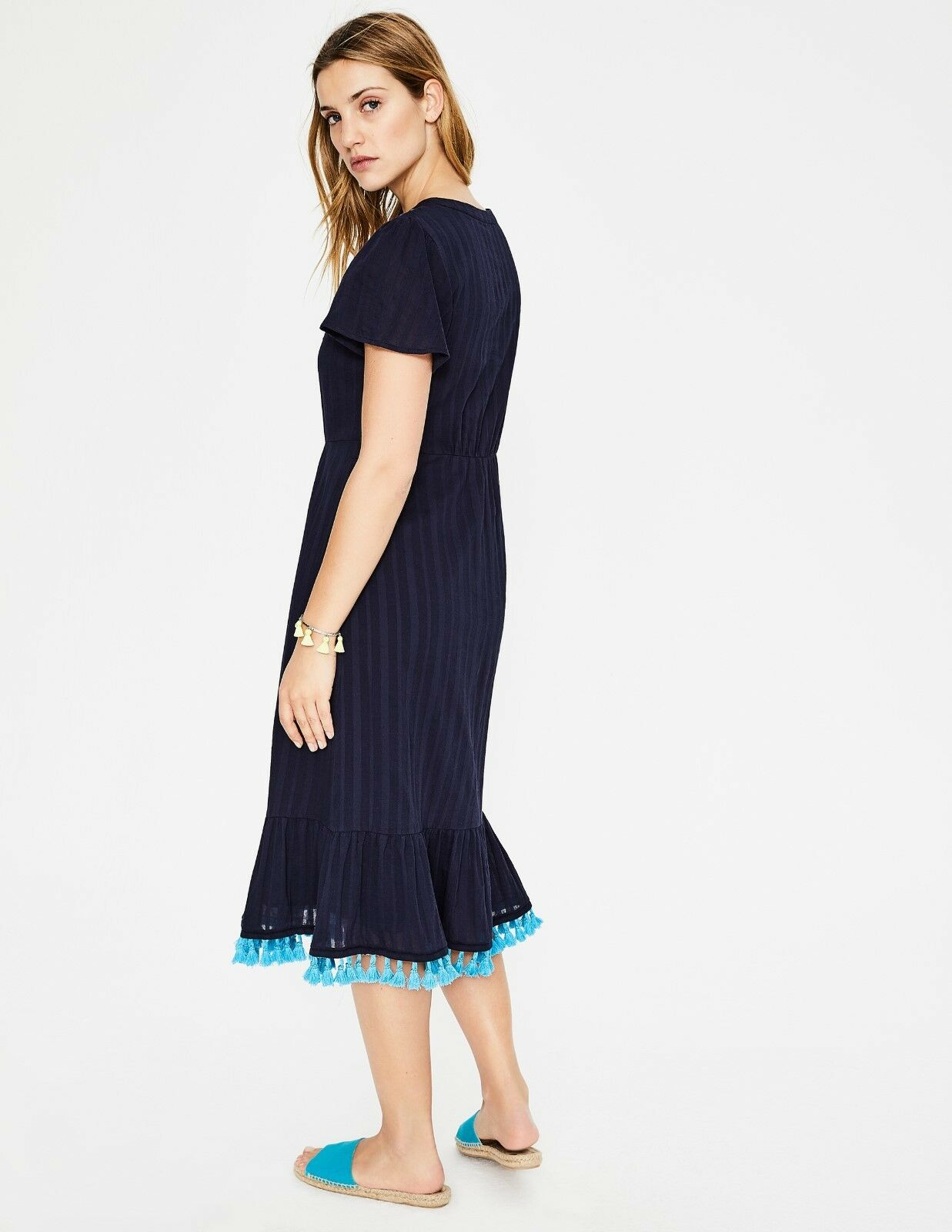 Boden Boden Boden Evelyn Embroidered Boho Dress Navy Size 8 Regular RRP f0c6ef