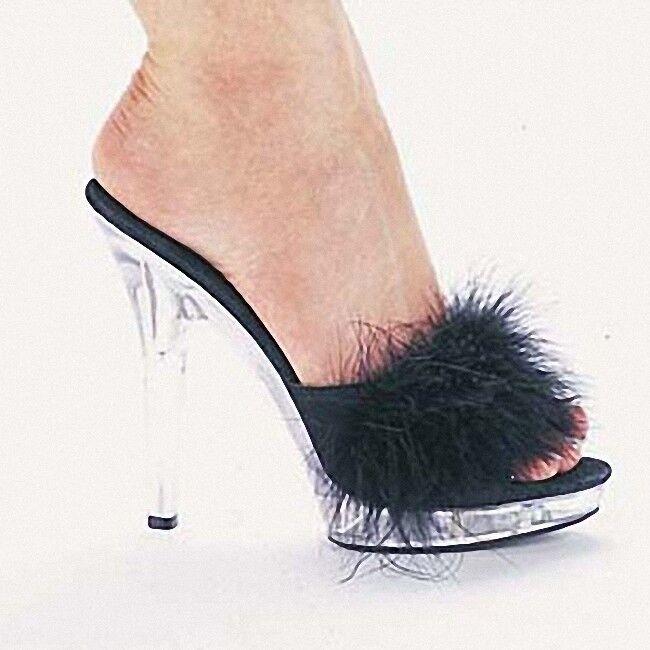 Zapatillas de piel de plataforma para mujer mujer mujer de Reino Unido claro Stilettos Tacón Alto Zapatos De Club Fiesta Mulas  venta al por mayor barato