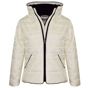 Kids Girls Olive Padded Puffer Jacket Bubble Faux Fur Collar Quilted Warm Coats