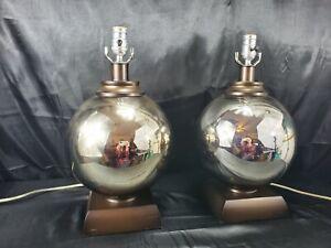 Modern-Mirrored-mercury-circle-Table-Lamps-Balls-Matching-Pair-Silver-Gold
