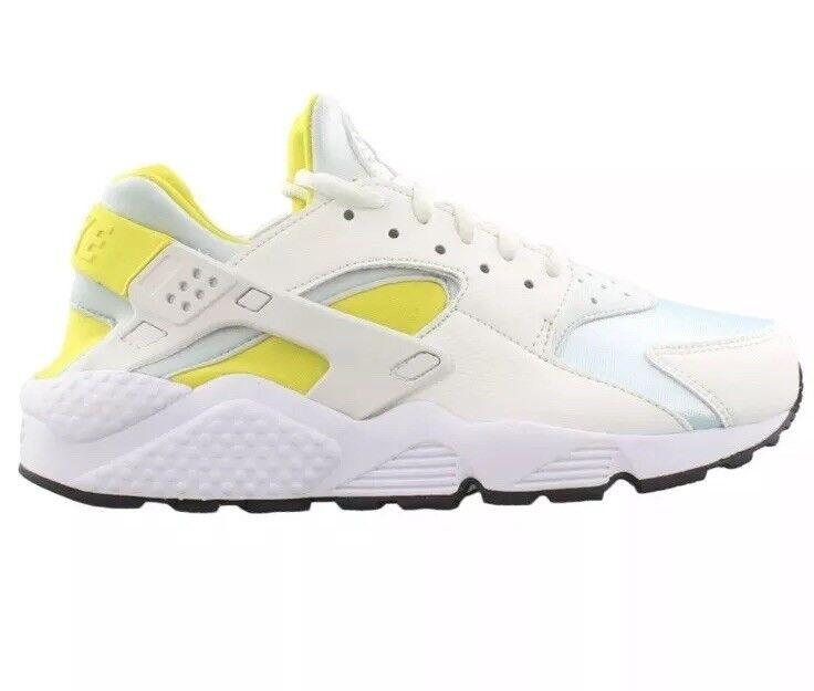 NEW Women 039 s Nike Air Huarache Run Shoes Style 634835-112 Sz 6 WHITE-YELLOW