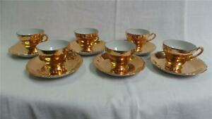 RETRO GOLD PORCELAIN COFFEE SET 6 CUPS & SAUCERS ST KILDA ...