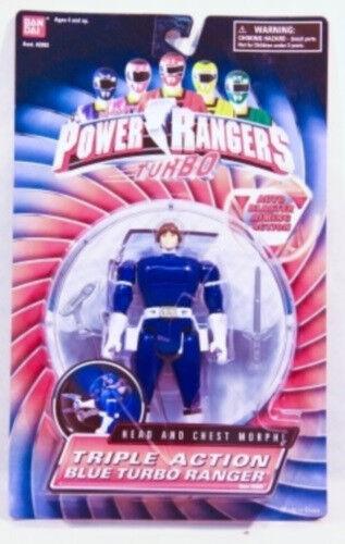 Power Rangers Turbo 5  Flip Flip Flip Head  Triple Action  Auto Morphin' bluee Ranger (MOC) f7bdb7