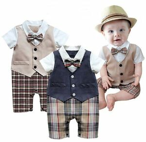 Details About Baby Toddler Boy Wedding Christening Tuxedo Formal Party Suit Outfit Clothes