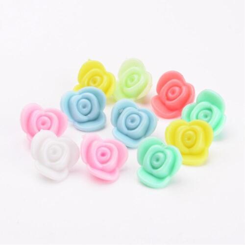 100 X Acrylique Fleur Perles-Mélange Opaque Roses Pastel Mix 15 mm-clearance