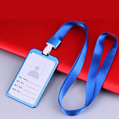 Lanyard Holder Vertical Aluminum Alloy Business Work Card ID Badge Metal Durable