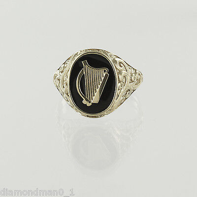 Hallmarked 9ct Yellow Gold Ladies Irish Harp Coat Of Arms Ring