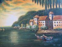 Mediterranean sea scape oil painting canvas original Italy Greece Spain boats