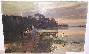 Peinture À L'Huile Fischersleute Casier Paysage Marin L Ansfeld 1910 Fischer