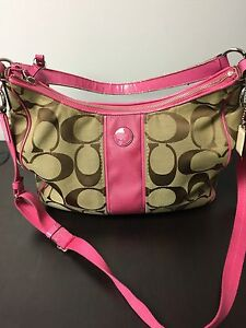 9919a339cb Image is loading Coach-Signature-Stripe-Convertible-Hobo-Crossbody-Shoulder- Bag-