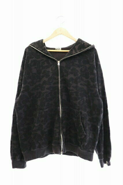 A Bathing Ape Monkey Camouflage Camofra Full Zip Hoodie Black Clothes
