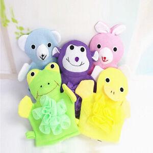 Baby-Cartoon-Animal-Design-Bath-sponge-Kids-Shower-Mitt-Cute-Glove-new-HF