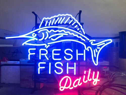 "20/""x16/""Fresh Fish Daily Neon Sign Light Store Restaurant Handcraft Visual Art"