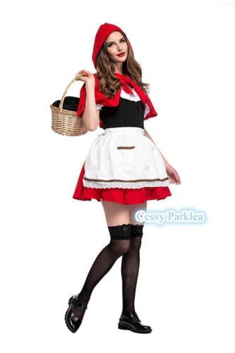 Girls Women Little Red Riding Hood Costume Child Kids Day Book Week Fancy Dress