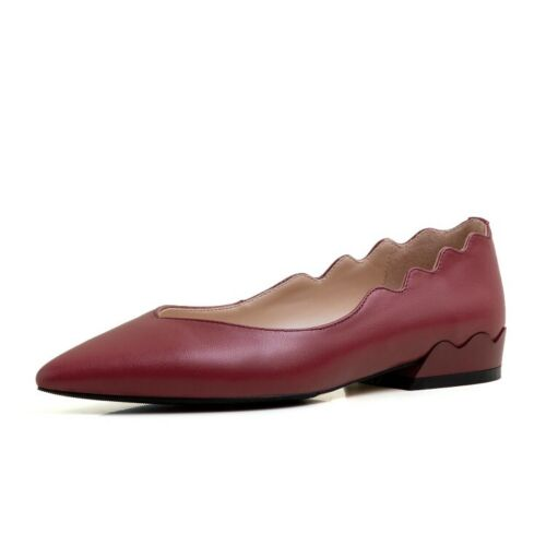 Details about  /Women Genuine Leather Loafers Chunky Heel Shoes Pointed Toe Casual Pumps Comfort