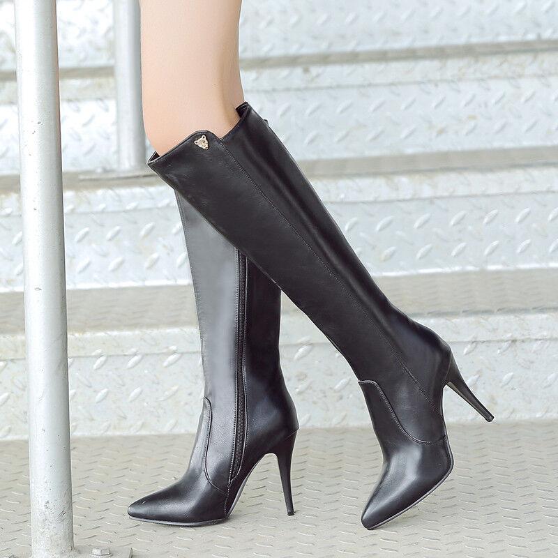 Stiefel Elegant Einfach Gr.33-44 Schwarz Wadenhohe Kniehohe Stiefel Damenschuhe