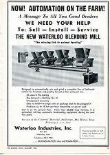 1962 Dealer Print Ad of Waterloo Industries Bending Mill Mix & Grind Animal Feed