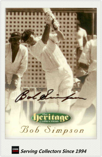 1996 Futera Cricket Heritage Collection Signature Card NO43 Bob Simpson