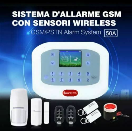 KIT ANTIFURTO CASA ALLARME TOUCH SCREEN COMBINATORE GSM PSTN WIRELESS da APP 50A