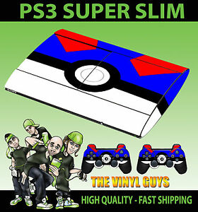 PLAYSTATION-PS3-SUPER-SLIM-GREAT-POKEBALL-POKEMON-GO-STICKER-amp-2-X-PAD-SKINS
