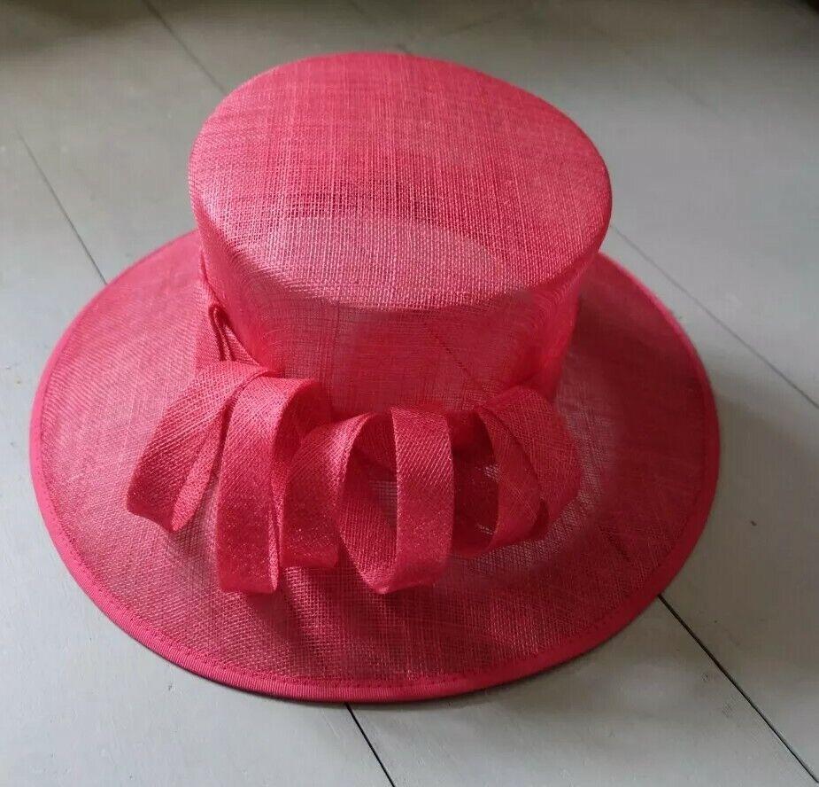 Stunning Bold Debut Wedding Occasion Hat In Hot Pink Spiral Detail