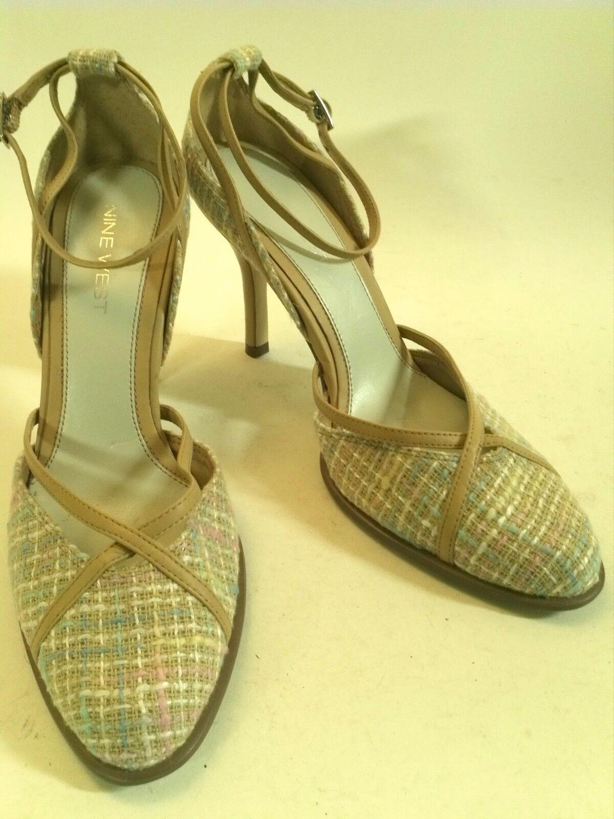 NINE WEST Nuruo Textile Beige Leather and Multi Textile Nuruo Weave HEELS 3