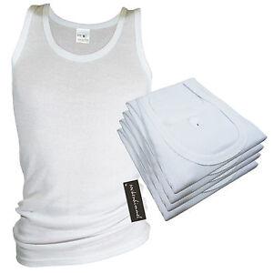Herren-Unterhemden-DOPPELRIPP-4er-Pack-weis-100-Baumwolle-Singlet-Vest-Hemd