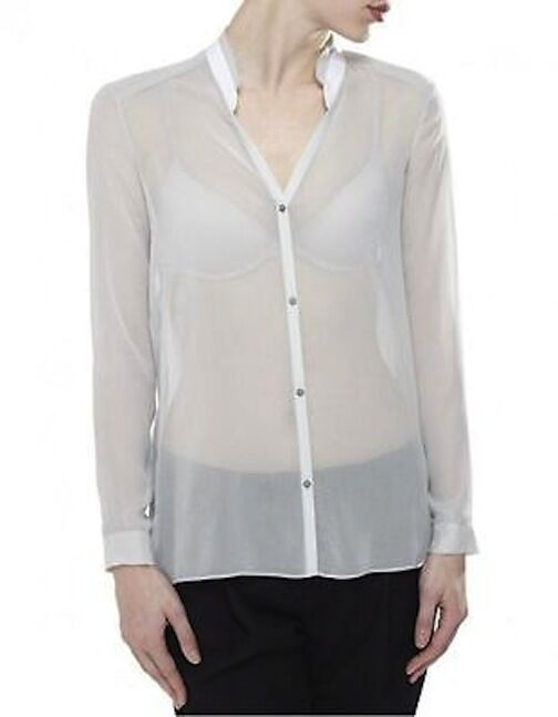 Helmut Lang Loose Long Sleeve Shirt Ripple Voile Turf size S  220 NWT