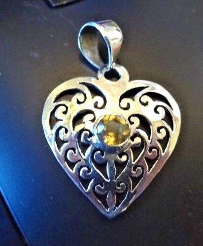 Superb Sterling Silver /& Citrine Heart Pendant